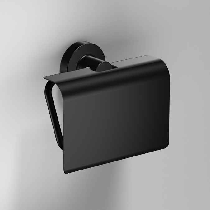 Tecno Project Black Toilet Roll Holder with Flap