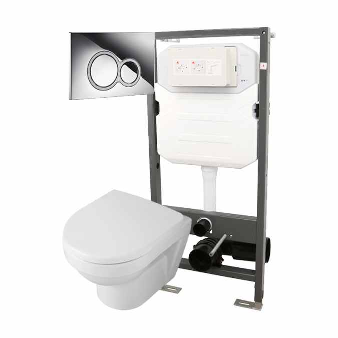 Essentials Frame 1140mm & Opaz 2 Compact Wall Hung WC Pack 1140i