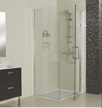 Decem Hinged Door Shower Enclosure 760mm With Side Panel For Corner Fitting  By Roman Showers