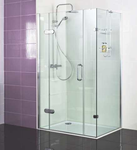 Decem Hinged Door Shower Enclosure 1400 x 800mm with Two In-line Panels and Side Panel for Corner Fitting by Roman Showers