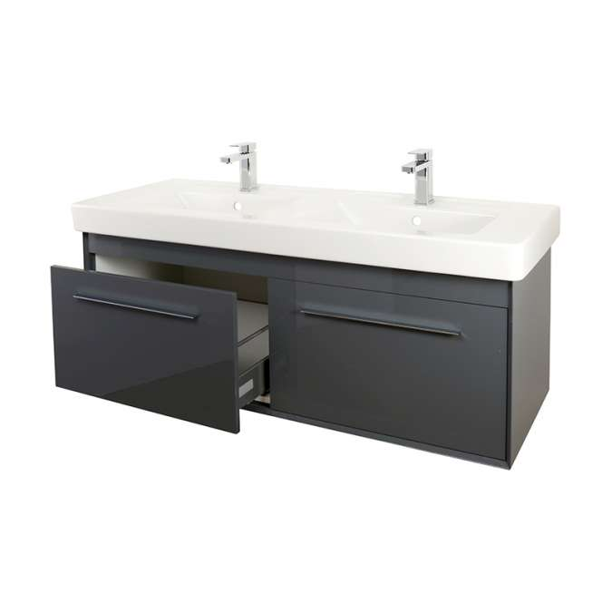 Antheracite Double Basin Bathroom Vanity Unit Free Delivery At
