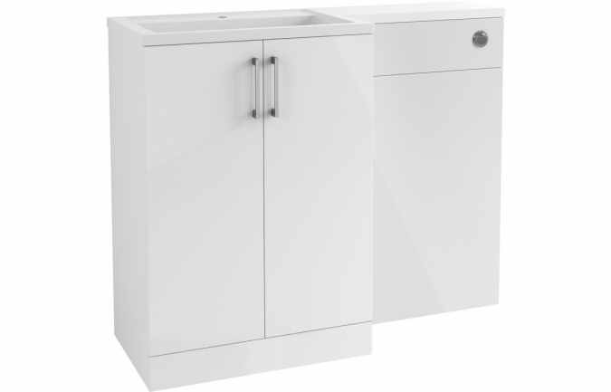 Volta 1100mm L-Shape Furniture Pack - White Gloss - Bathrooms To love