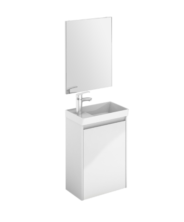 Royo Enjoy 450mm Wall Hung Cloakroom Unit and Mirror in Gloss White