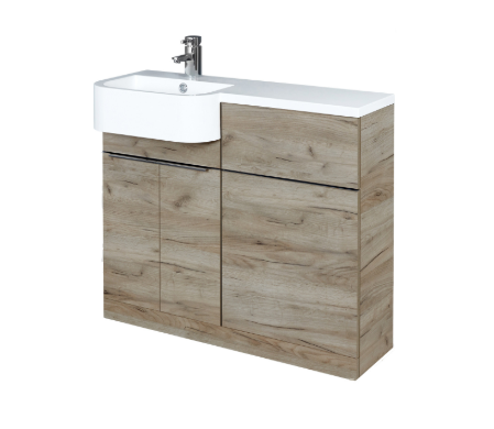 Royo Linea WC Unit, Base Unit and Washbasin (Left Hand) in Oak by Frontline