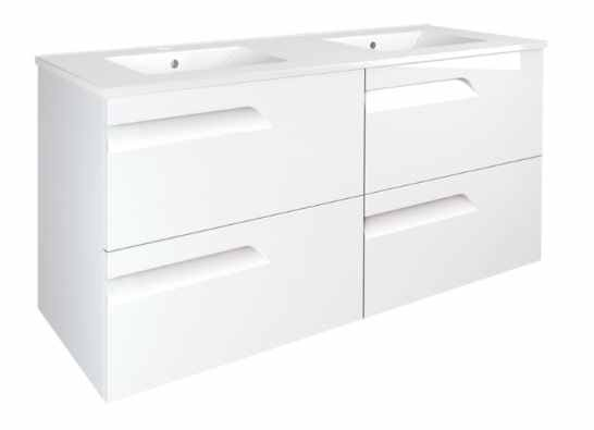 Royo Vitale 1200mm 4 Drawer Wall Unit and Double Square Ceramic Basin in Gloss White