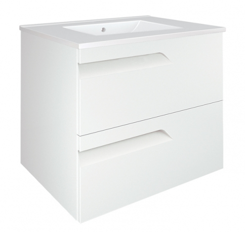 Royo Vitale 600mm 2 Drawer Wall Unit and Square Ceramic Basin in Gloss White