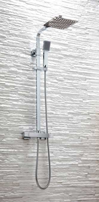 Cube Square Dual Head Exposed Thermostatic Shower With Metal Fixed Head