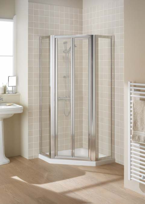 900mm Framed Pentagon Bi-Fold Shower Door with Side Panels - Silver - Pentangle Enclosure - Lakes - Classic