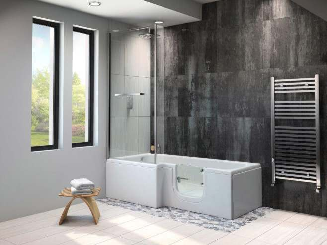 Larimar Walk-in Shower Bath - Easy Access Bath Including Front Panel (1670 x 850/700mm)