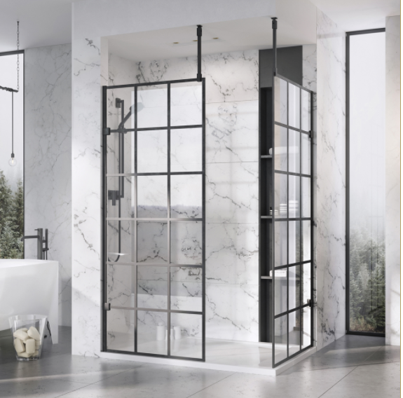 1057mm Roman Liber8 10mm Wetroom Black Grid Panel - KLCP11GPB