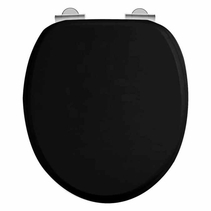 Burlington Traditional Matt Black Toilet Seat With Lifting Handle