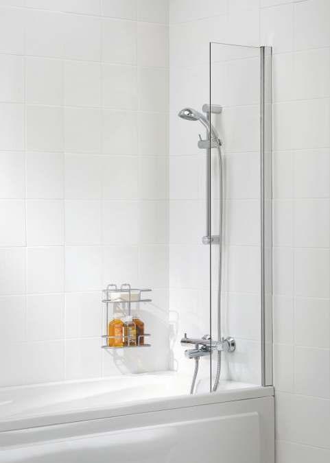 Lakes Bathrooms Shower Curtain Panel Bath Screen   300 X 1500mm   Silver