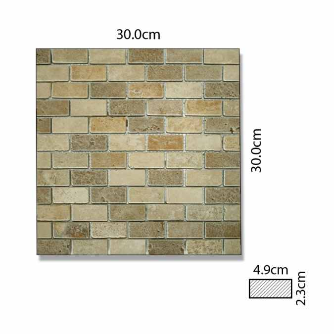 Abacus Travertine Marble Rectangle Mosaic Mixed Colour Sheet 30 x 30cm Box of 5