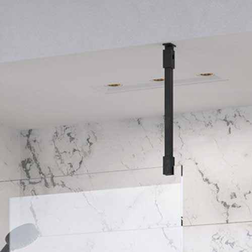 Roman Black Square Wetroom Glass Ceiling Support Bar For 6mm / 8mm / 10mm Glass - LBBKC50SQB