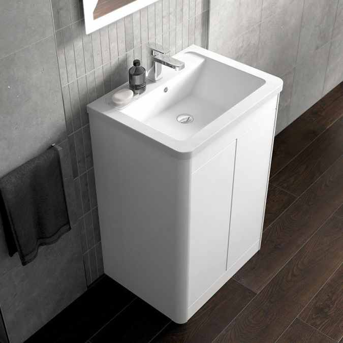Nara 600mm Floor-standing Vanity Unit & Curved Basin - White Gloss - Elation