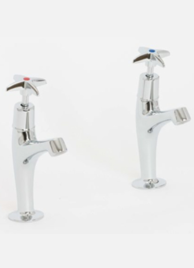 Skara Cross Top Hi Neck Sink Pillar Taps