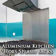 Aluminium kitchen hob splash backs