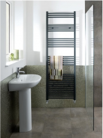 Wendover Matt Anthracite Straight Towel Rail - 600 x 500mm