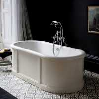 Burlington London Traditional Bath with Curved Surround - 1800 x 850
