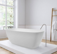 BC Designs Projekt Divita Silk Matt Cian Solid Surface Freestanding Bath, 1495 x 720mm