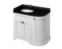 Burlington Matt White 2 Door Curved Vanity Unit with Minerva Worktop - 100cm Left Hand