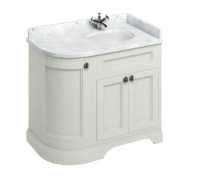 Burlington Curved Sand Vanity Unit with Doors and Minerva Worktop - 100cm Right Hand