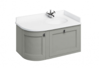 Burlington Olive Curved Wall Hung Vanity Unit with Minerva Worktop - 100cm Right Hand