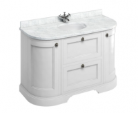 Burlington 134cm Matt White Curved Vanity Unit with Minerva Worktop