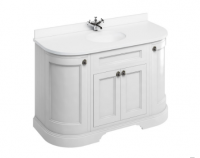 Burlington 134cm Matt White 4 Door Curved Vanity Unit with Minerva Worktop