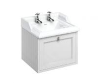 Burlington Matt White Wall Hung Vanity Unit with Drawer & Classic Basin - 65cm