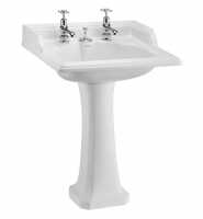 Burlington Classic 65cm Square Basin with Invisible Overflow and Pedestal