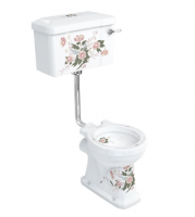 Burlington English Garden Low Level WC with White Ceramic Cistern and Lever P2D C1D