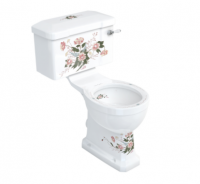 Burlington English Garden Close Coupled WC and White Ceramic Cistern with Lever P5D C1D