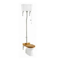 Burlington High Level WC with White Ceramic Cistern and Dual Flush Fittings P2 C5