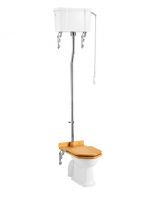 Burlington High Level WC with White Ceramic Cistern and Single Flush Fittings P2 C28S