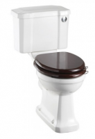 Burlington Rimless Slimline Close Coupled WC and White Ceramic Cistern with Push Button P20 C4