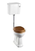 Burlington Low Level WC with Slimline White Ceramic Cistern and Chrome Push Button P2 C4