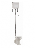 Burlington High Level WC with White Aluminium Cistern and Fittings P2 T59