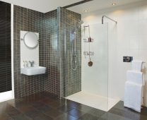 Reduced Height Collage Wetroom Wetroom Glass Screen - 1400mm - Roman