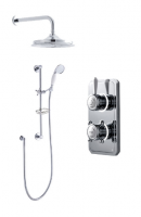 Bathroom Brands Classic Digital Shower with Ceiling Mounted Fixed Head, Slide Rail Kit and Soap Basket - Pumped (Gravity)