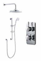 Bathroom Brands Classic Digital Shower with Wall Mounted Fixed Head, Slide Rail Kit and Soap Basket - Pumped (Gravity)