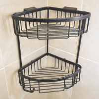 Roman Matt Black Double Corner Shower Basket with Hooks - RSB05B