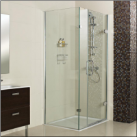 Decem Hinged Door Shower Enclosure 1000 x 800mm with One In-line Panel for Corner Fitting by Roman Showers