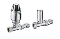 Terrier Straight Thermostatic Radiator Valve and Lockshield Pack by Francis Pegler
