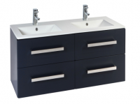Frontline Aquatrend 1200mm Matt Indigo 4 Drawer Wall Unit and Double Ceramic Basin