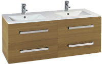 Frontline Aquatrend 1200mm Modern Oak 4-Drawer Wall Unit and Double Ceramic Basin