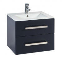 Frontline Aquatrend 550mm Matt Indigo 2 Drawer Wall Unit and Ceramic Basin