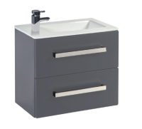 Frontline Aquatrend 550mm Dust Grey 2 Drawer Wall Unit and Ceramic Basin