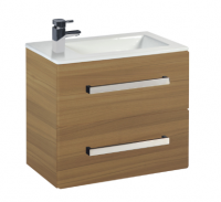 Frontline Aquatrend 550mm Modern Oak 2-Drawer Wall Unit and Ceramic Basin