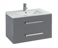 Frontline Aquatrend 600mm Dust Grey 2 Drawer Wall Unit and Ceramic Basin
